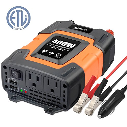 (Ampeak 400W Power Inverter DC 12V to 110V AC Car Inverter with 3.1A Dual USB Converter )