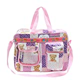 Bazaar Pirates Mama's First Choice Baby Diaper Bag & Kids Luggage Bag Teddy Bear Print Imported Fabric (Purple)