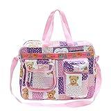 Bazaar Pirates Mama's First Choice Baby Diaper Bag & Kids Luggage Bag Teddy Bear Print Imported Fabric (Purple)