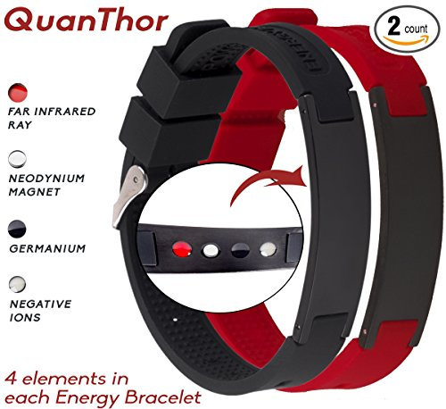 Sports Anion Energy Bracelet Wristband - Black + Silver - 2