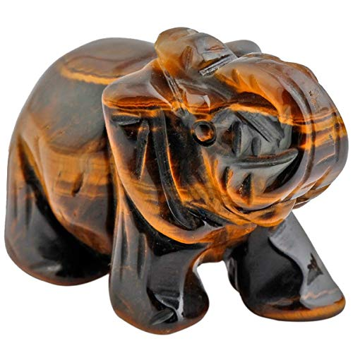 Sharvgun Tiger Eye Statuette Elephant Decoration, Figurine Carved Stone Healing Statue Decor Table, 1.5 Inches