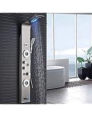 Douchepaneel LED van roestvrij staal met temperatuurweergave en 2 massagefuncties Kleur: (geborsteld nikkel ))