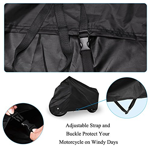 Motorcycle Cover Universal Fit Oxford Fabric Waterproof Breathable Rain Sun UV Dust Outdoor All Weather Protection with Lock Hole (Fits Motorbike up to 96'', Black) by LEDKINGDOMUS (Image #4)