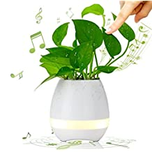 Haixing Plant Pots Bluetooth Speaker Touch Piano Music Playing Rechargeable Wireless Flower Pots with Night Light for Office Home Decor (Blue) (White)
