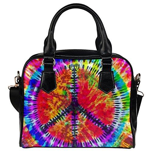 - InterestPrint Tie Dye Peace Sign PU Leather Aslant Single Shoulder Tote Handbag Bag