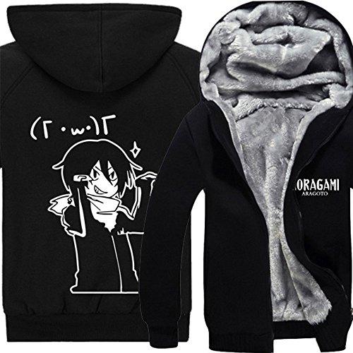Rain's Pan Anime Noragami Cosplay Costume Zip up Thick Fleece Hoodies Sweatshirts Coat Outwear (US XS=Asia M, Black)