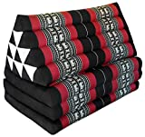 Thai triangle cushion/mattress XXL, with 3 folding seats, black/red, sofa, relaxation, beach, pool, meditation, yoga, made in Thailand. (81618)
