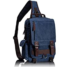 Leaper Canvas One Strap Sling Cross Body Messenger Bag Shoulder Backpack Rucksack Medium Dark Blue