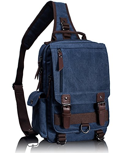 (Leaper Canvas Messenger Bag Sling Bag Cross Body Bag Shoulder Bag Dark Blue, M)