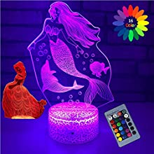 eTongtop 2PC Mermaid Lights for Kids 3D Princess Night Lamps 16 Colors with Remote Birthday Gifts for Girls Women (Mermaid +Princess)