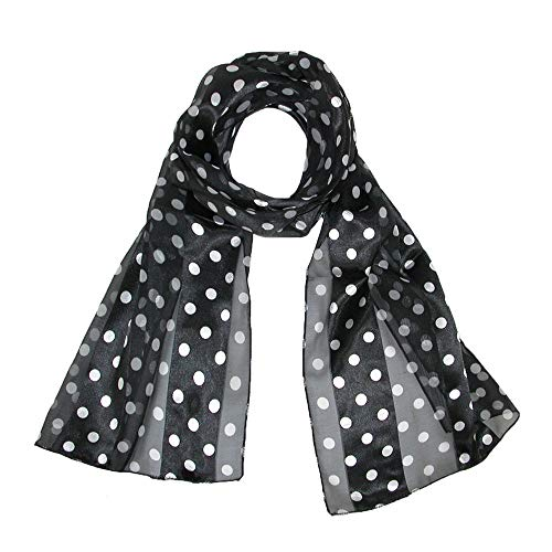 CTM Women's Satin Polka Dot Scarf,
