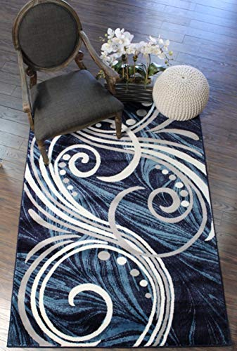 NEW Summit ELITE S 61 BLUE GREY WHITE SWIRL SCROLLS  Area Rug Modern Abstract Rug Many Sizes Available  (4X5 ACTAUL SIZE IS 3'.8'' X -