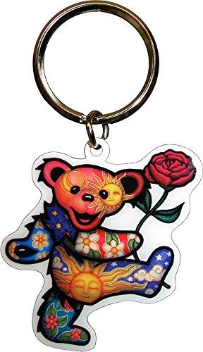 [해외]고마운 죽은 자 - 로즈 춤 곰 - 금속 키 체인/Grateful Dead - Dancing Bear with Rose - Metal Keychain