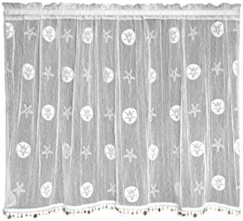 Heritage Lace Sand Dollar Tier with Trim, 45 by 30-Inch, White