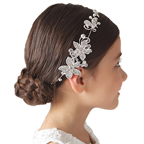 DreamYo Headdress Flowers Crystal Pearls Rhinestones Beading Beautiful Girls Hair Accessories Princess Hair Jewelry Ceremony performce Prom Party Wedding 9 Styles (HJ), -