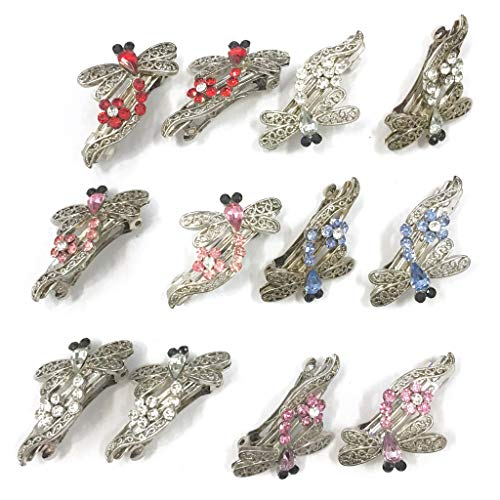 12 Pieces Set Dragonfly Style Crystal Barrette With Silver Color Metal Clip 5 Different Crystal ColorSB-202