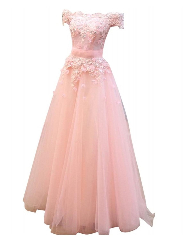 Charm Bridal Tulle Lace Off Shoulder Bridesmaid Dress Long Women Party Dresses