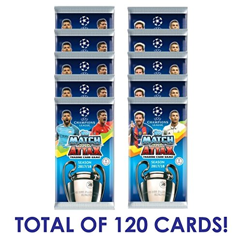2017-18 TOPPS MATCH ATTAX CHAMPIONS LEAGUE SOCCER CARDS 10 PACKS (90 CARDS) 6 FREE PROMO PACKS (120 CARDS TOTAL) DON'T CONFUSE WITH THE 6 CARDS PER PACK LISTINGS LOOK FOR MESSI, RONALDO, NEYMAR!