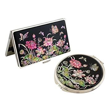 Set Miroir De Poche Porte Cartes Visite Nacre Collection Fleur LOTUS