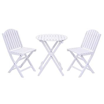 Amazon.com : Giantex 3 Piece Table Chair Set Wood Folding Outdoor ...