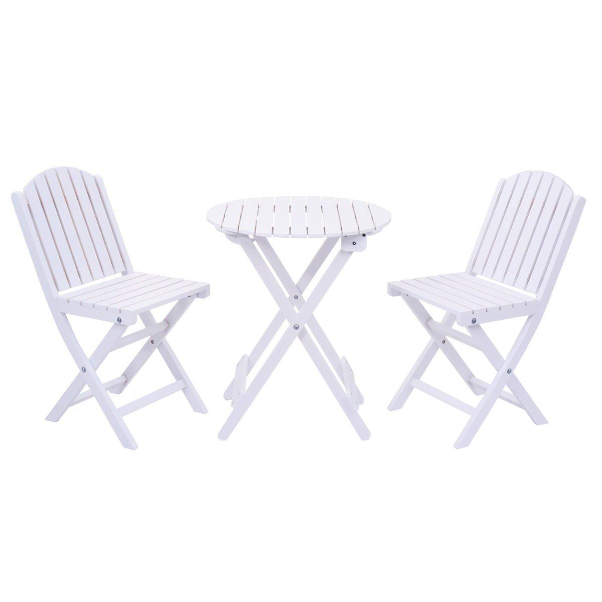 Giantex 3 Piece Table Chair Set Wood Folding Outdoor Patio Garden Pool Furniture (White)