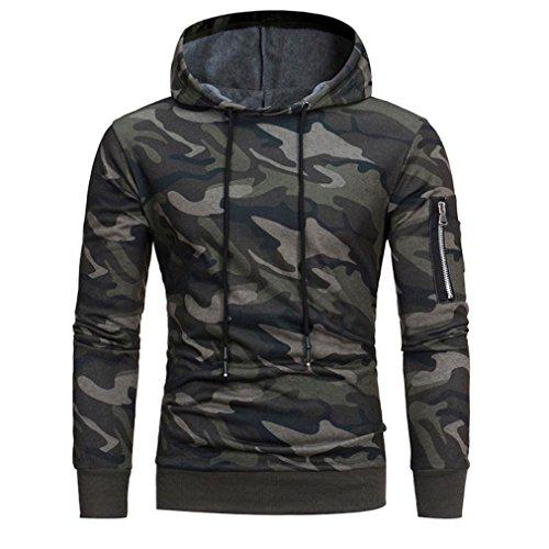 YOcheerful Mens' Boy Zip Windproof Jacket Coat Outwear Hoodie Sweatshirt Slim Fit (Camouflage,XL)