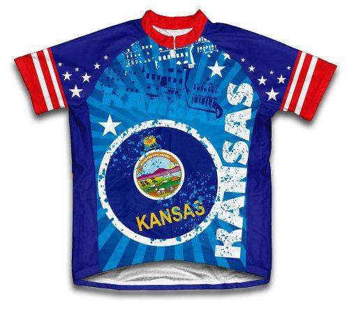 ScudoPro Kansas Short Sleeve Cycling Jersey for Women - Size L Blue (Kansas Bike Jersey)