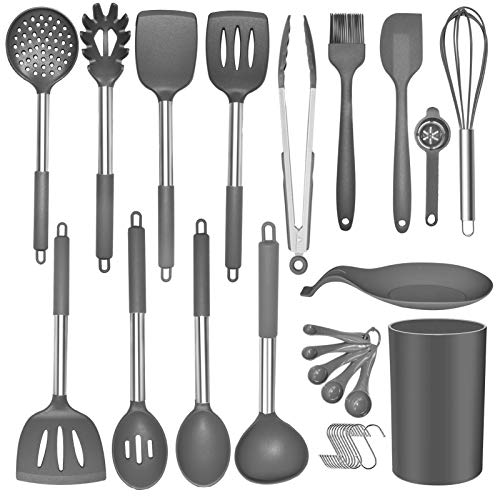 Kitchen Utensils Set 30pcs Non-stick Heat Resistant Silicone Cooking Set with Holder Cookware with Stainless Steel…