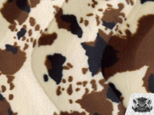 [1 X Velboa Faux / Fake Fur Cow BEIGE BLACK Fabric By the Yard] (Creative Cow Costumes)