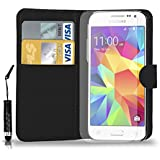 Samsung Galaxy Core prime G360 - Leather Wallet Flip Case Cover Pouch + Mini Touch Stylus Pen + Screen Protector & Polishing Cloth ( Black )