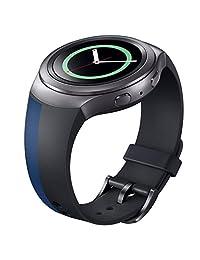 Watch Band, ABC Luxury Silicone TPU Watch Band Strap for Samsung Galaxy Gear S2 SM-R720 (Black+Blue)