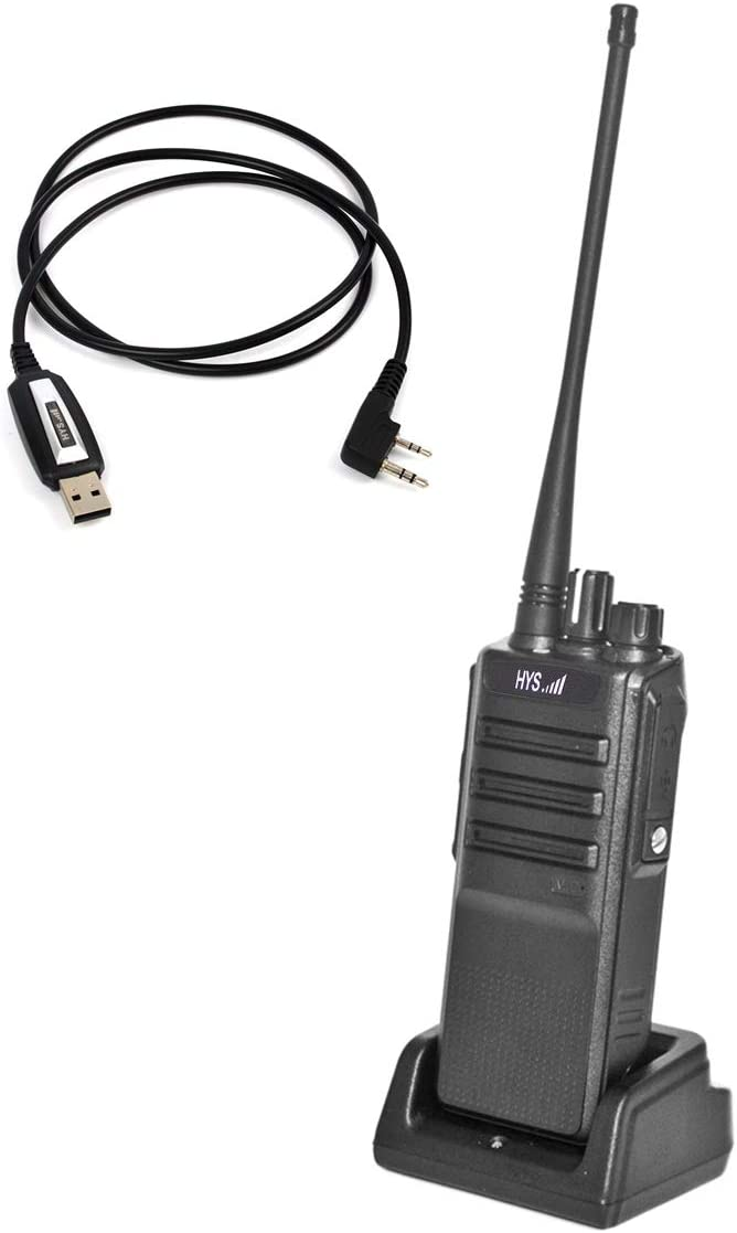HYS UHF 400-480MHz 10W Two Way Radio Handheld Transceiver Long Distance Rechargeable Amateur Ham Radio with USB Programming Cable and Software 1 Pack