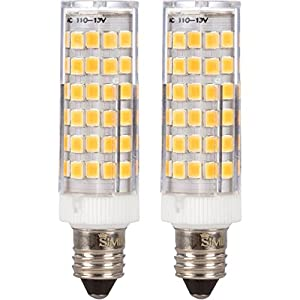 [2 Pack] Simba Lighting LED E11 6W 500lm 76SMD2835 Corn Light Bulb 50W Halogen Replacement 120V for Chandeliers, Cabinet Lighting, Mini-Candelabra Base, Soft White 3000K Dimmable