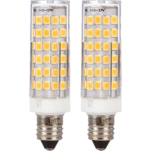 LED JDE11 E11 T4 Mini Candelabra Light Bulb 6W 40W to 50W Halogen Replacement by Simba Lighting | 76SMD2835 Corn 120V for Chandeliers, Sconce, Cabinet Lighting, Soft White 3000K, Dimmable, Pack of 2
