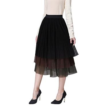 Hehaja Mujer Elegante Falda Plisada Cintura Alta Ocio Falda de ...