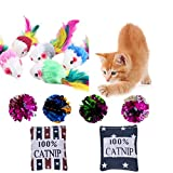 Buytra Cat Toys Set with Furry Mice, Catnip Toy Pillows, Mylar Crinkle Balls, Random Color, 11 Pack