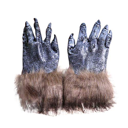 Novelty Halloween Wolf Claw Gloves, Scary Simulated Silicon Wolf Monster Paw Costume Party Masquerade Cosplay Festivals Party (Multicolor) -