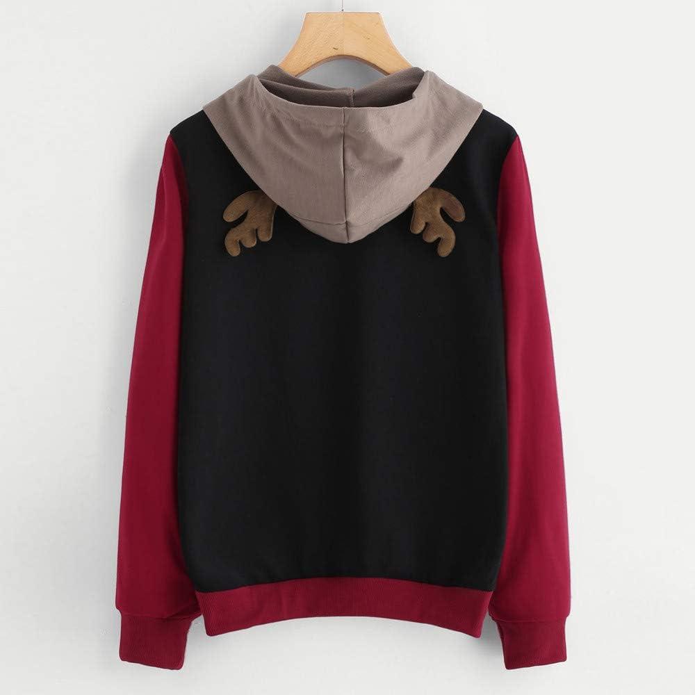 TOOPOOT Womens Hoodie Sweatshirt Long Sleeve Deer Tops Pullover Sweatshirt