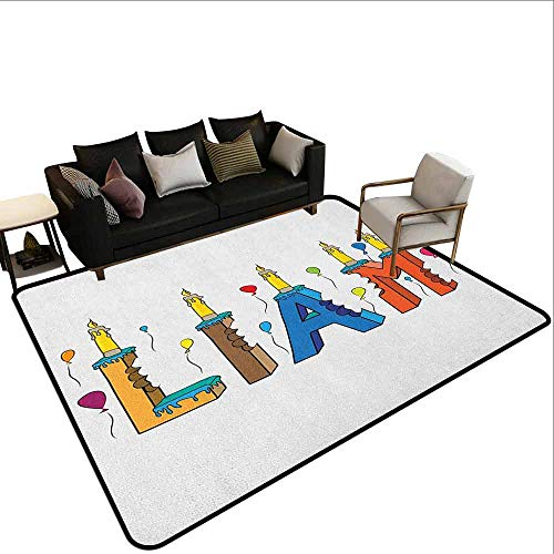 Price comparison product image Hall Carpet Liam, English First Name in a Colorful Letter Style Cake Design with Bite Marks and Candles,  Multicolor