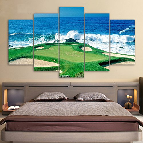 Canvas Paintings Printed Golf Course Coast Seascape Wall Art Canvas Pictures For Living Room Bedroom Modular Home Decor 5 Panels With Framed