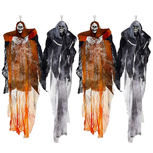 Ghoul Faces Halloween (Hanging Halloween Decoration - Realistic Floating Ghoul Ghost Skeleton Face - 4 Pieces - Use In Home Or Office - Create Frightening Atmosphere & Make People Jump As They Walk)