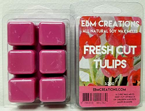 Candle Wax Tulip - Fresh Cut Tulips - Scented All Natural Soy Wax Melts - 6 Cube Clamshell 3.2oz Highly Scented!