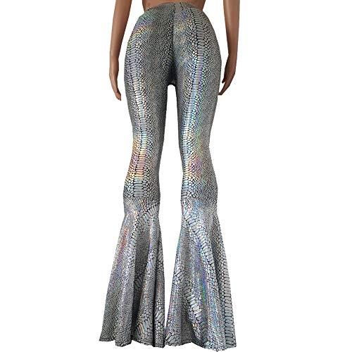 Pinda Holographic Rainbow Snake Animal Print High Waist Wide Leg Yoga Bell Bottoms Pants Leggings(XL, 375SSK) ()