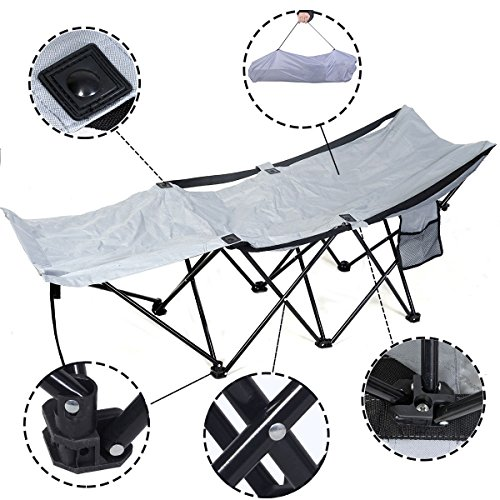 New Portable Folding Camping Adventure Camp Bed Durable Hammock Sleeping Cot Steel 600D Nylon Oxford