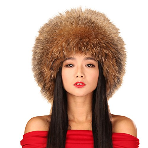 URSFUR Raccoon All Fur Zhivago Pill Box Fur Hat with Raccoon Tail (Raccoon Natural Color) by URSFUR