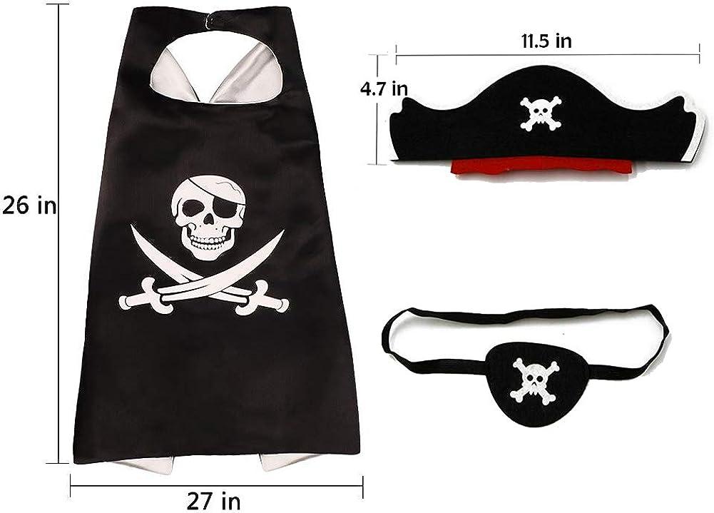 RioRand Cartoon Pirate Dress Up Satin Capes Cosplay Birthday Party Kids Costume