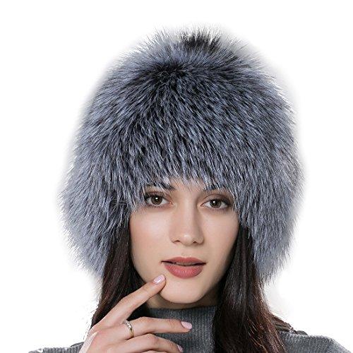 URSFUR Women Fur Wigs Winter Real Fox Fur Knit Hat with Fur Ball Pompom by URSFUR