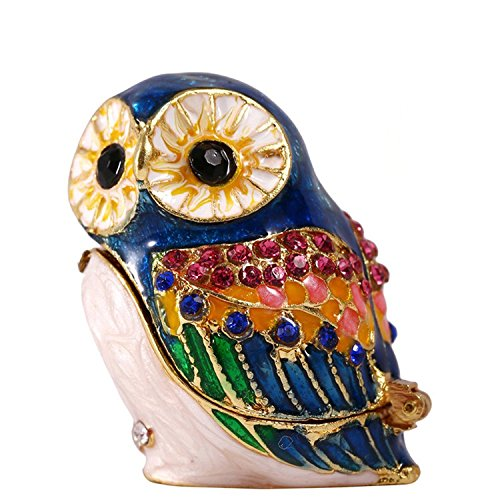 Waltz&F Hand- Painted Owl Trinket Box with Rich Enamel