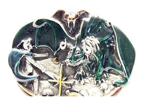 - Vintage 1983 Enameled Dragon Slayer Belt Buckle By BERGAMOT BRASS WORKS #U-146