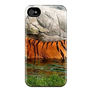 New Style Tpu 4/4s Protective Case Cover/ Iphone Case - Swiming Tiger